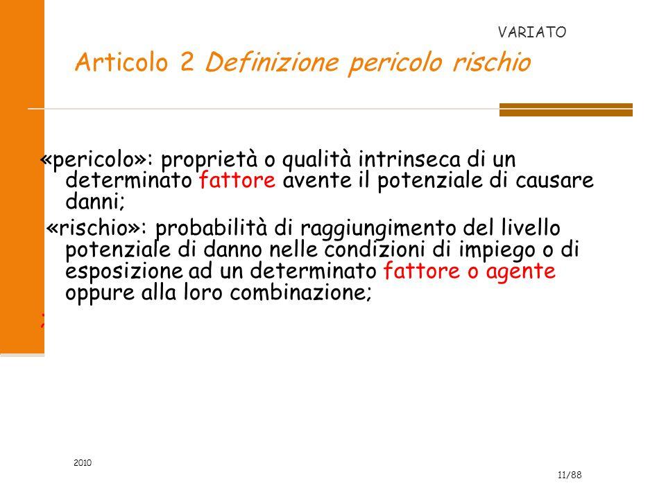 Articolo 2 Definizione pericolo rischio
