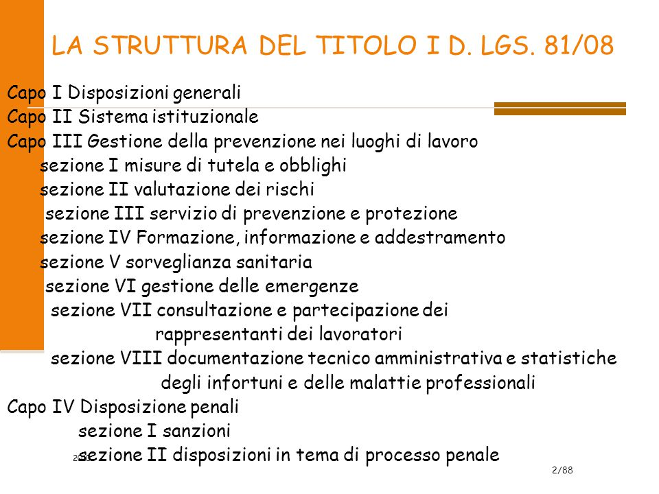 LA STRUTTURA DEL TITOLO I D. LGS. 81/08