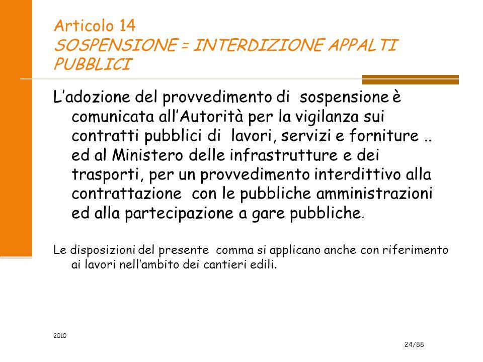 Articolo 14 SOSPENSIONE = INTERDIZIONE APPALTI PUBBLICI