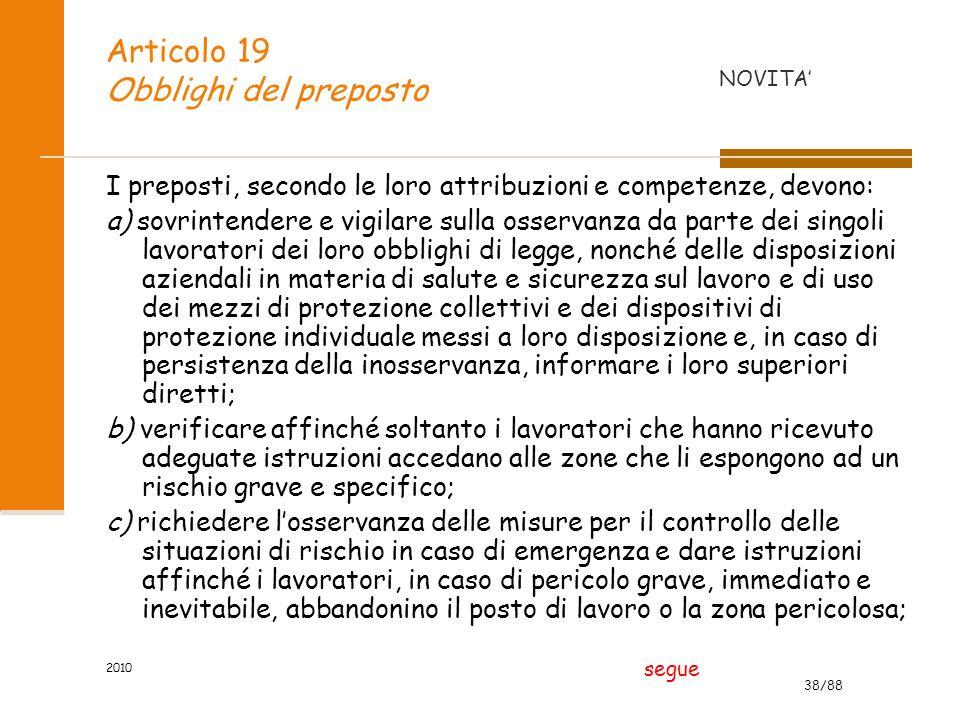 Articolo 19 Obblighi del preposto