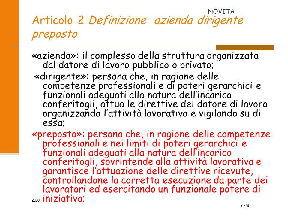 Articolo 2 Definizione azienda dirigente preposto