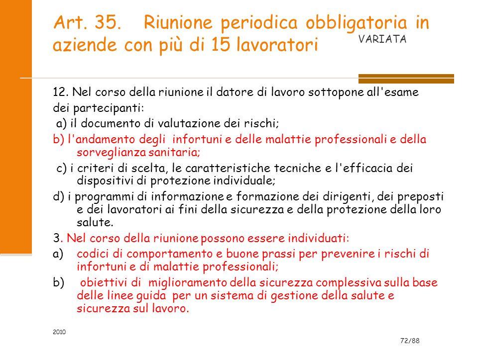 Art. 35. Riunione periodica obbligatoria in aziende con più di 15 lavoratori