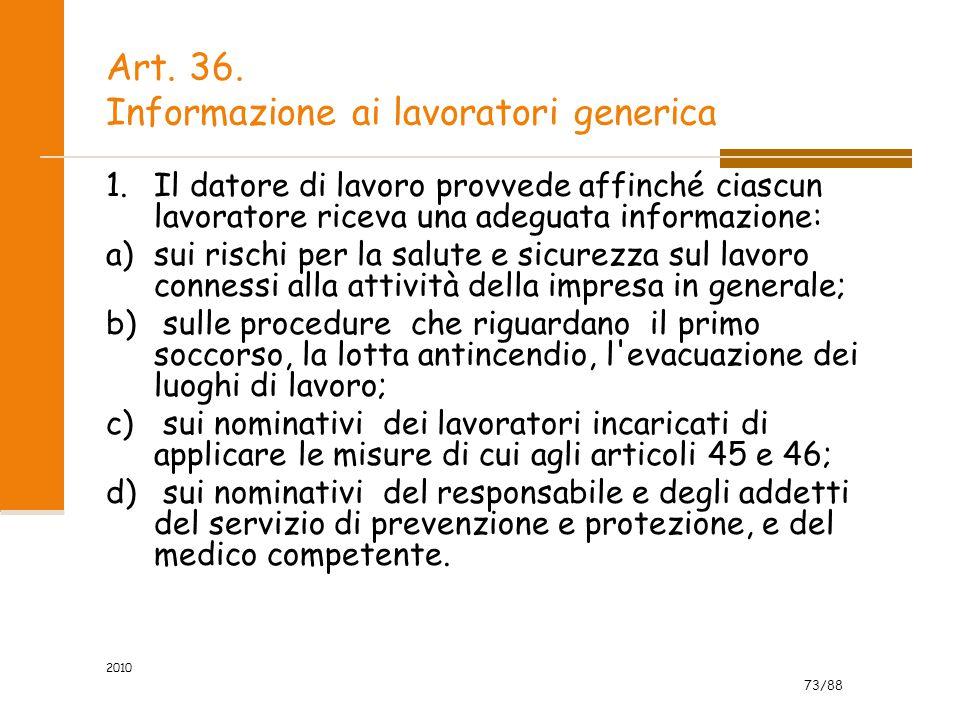 Art. 36. Informazione ai lavoratori generica