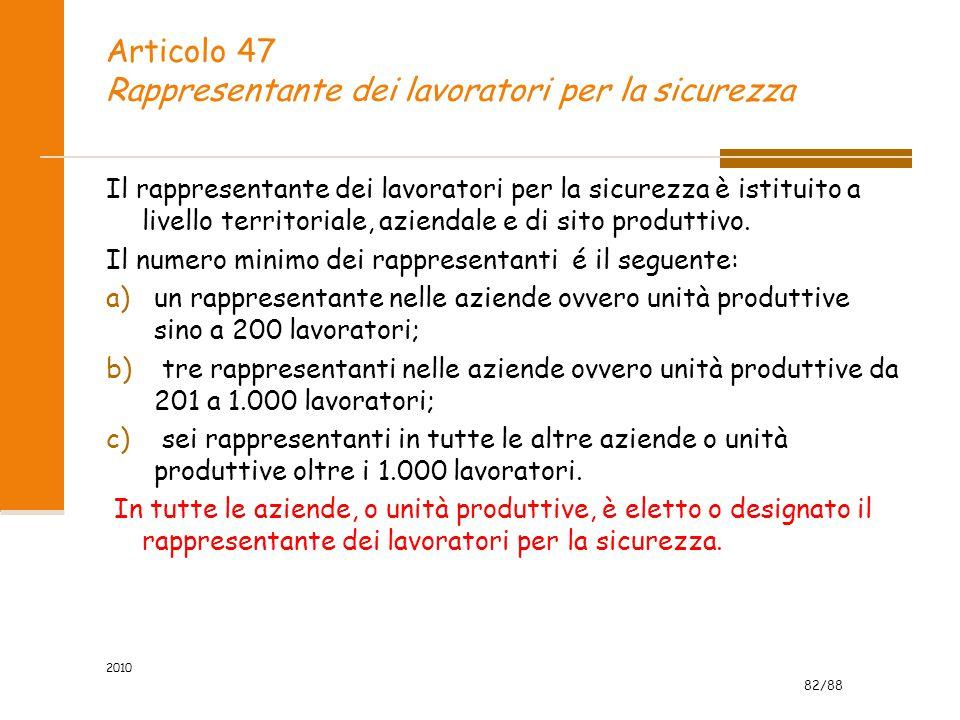 Articolo 47 Rappresentante dei lavoratori per la sicurezza