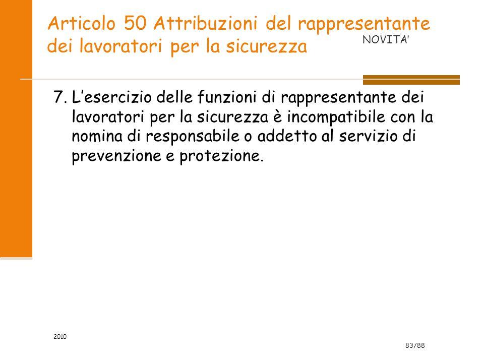 Articolo 50 Attribuzioni del rappresentante dei lavoratori per la sicurezza