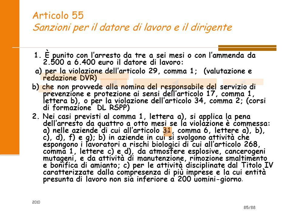 Articolo 55 Sanzioni per il datore di lavoro e il dirigente