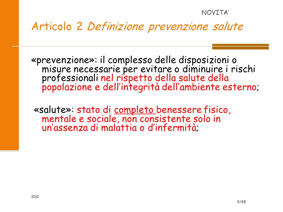 Articolo 2 Definizione prevenzione salute