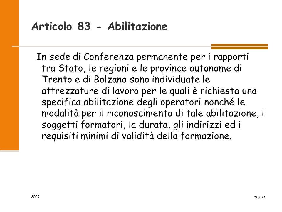 Articolo 83 - Abilitazione