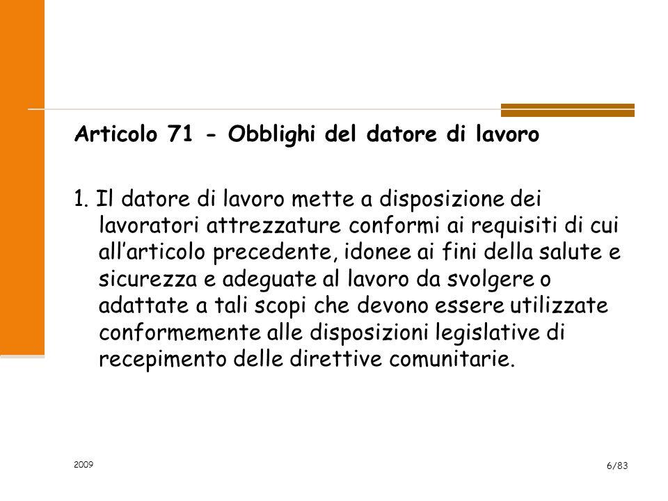 Articolo 71 - Obblighi del datore di lavoro 1