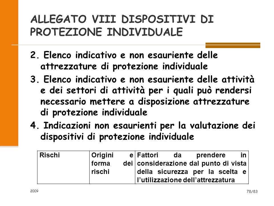 ALLEGATO VIII DISPOSITIVI DI PROTEZIONE INDIVIDUALE