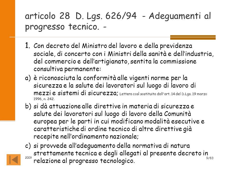 articolo 28 D. Lgs. 626/94 - Adeguamenti al progresso tecnico. -