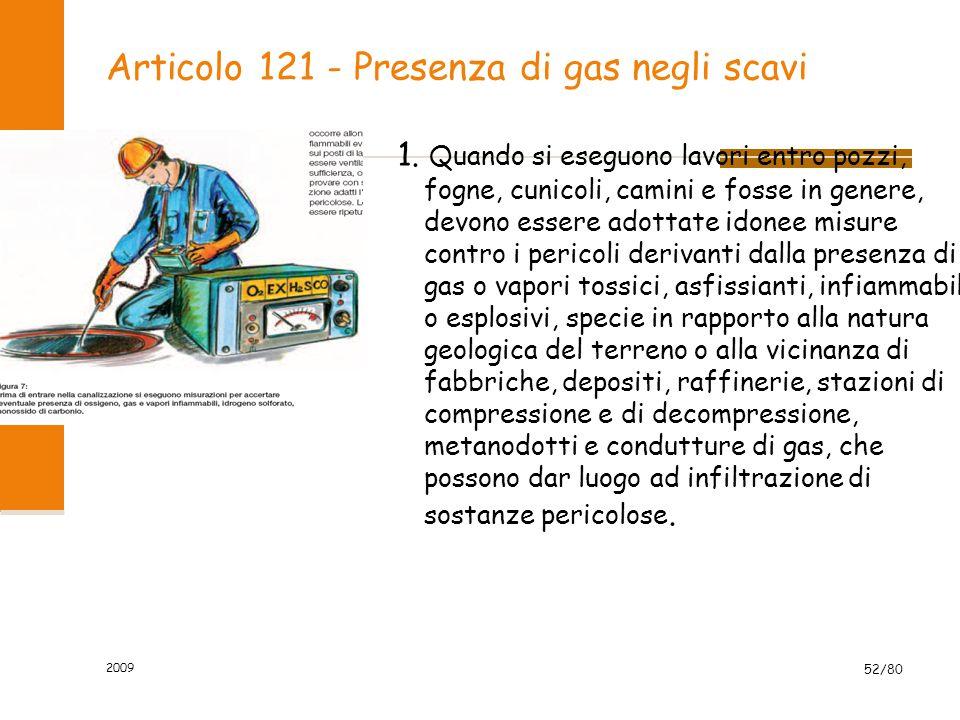 Articolo 121 - Presenza di gas negli scavi