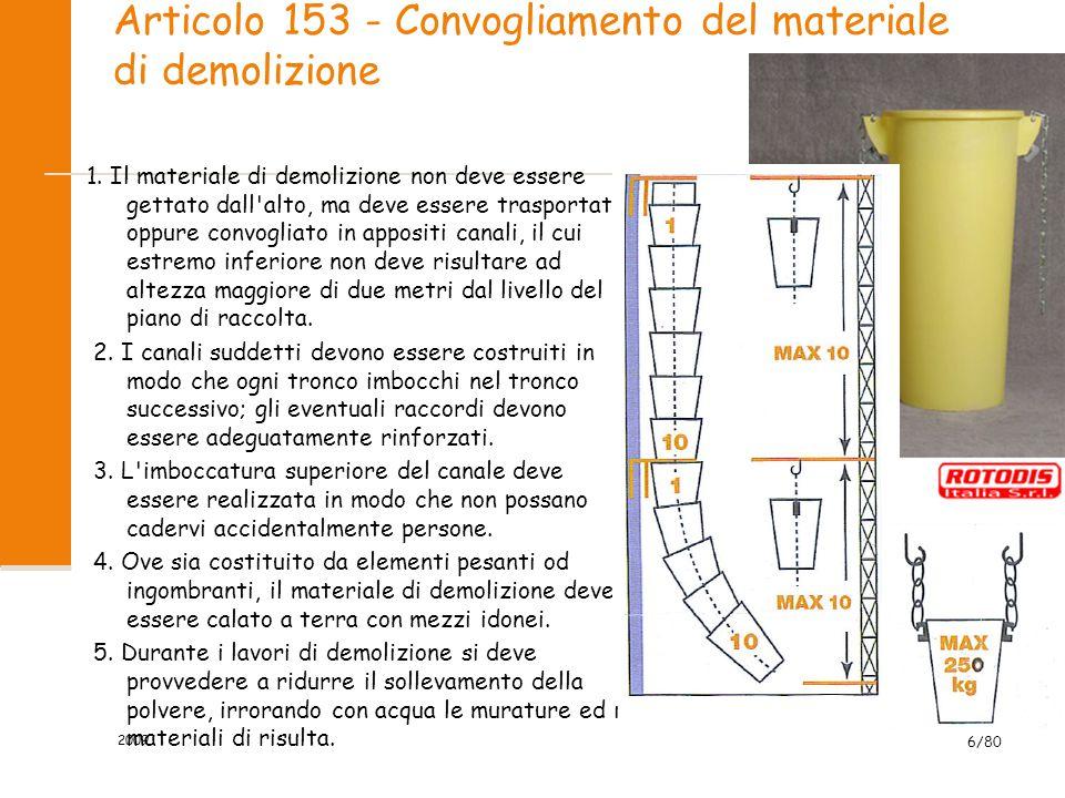 Articolo 153 - Convogliamento del materiale di demolizione