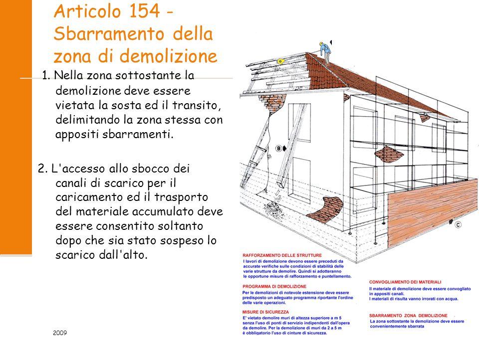 Articolo 154 - Sbarramento della zona di demolizione