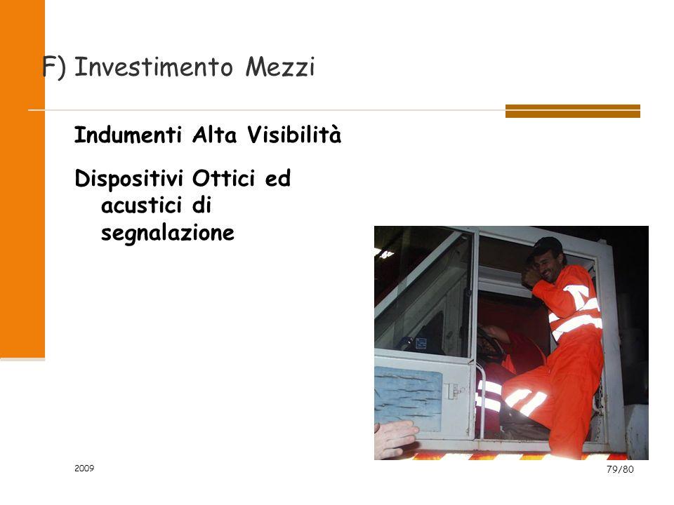 F) Investimento Mezzi Indumenti Alta Visibilità