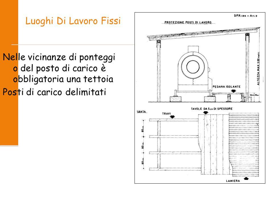 Luoghi Di Lavoro Fissi Nelle vicinanze di ponteggi o del posto di carico è obbligatoria una tettoia.