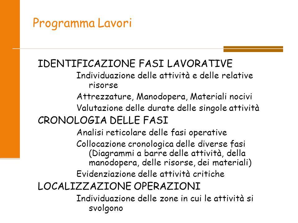 Programma Lavori IDENTIFICAZIONE FASI LAVORATIVE CRONOLOGIA DELLE FASI