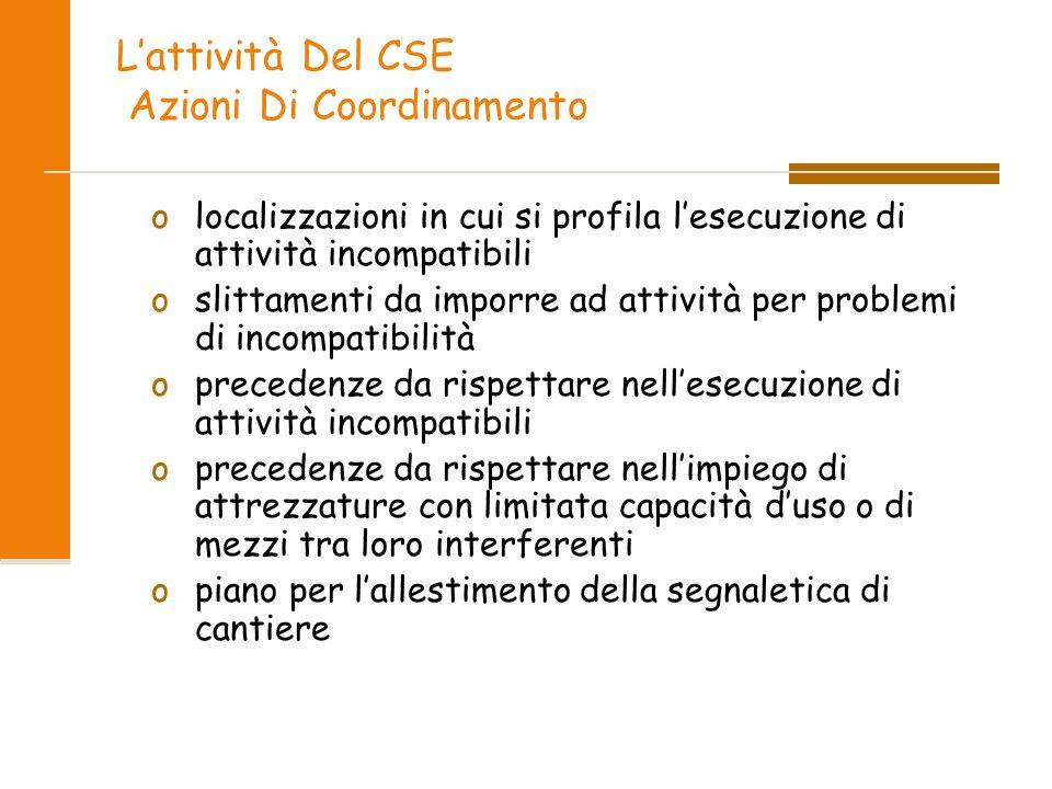 L'attività Del CSE Azioni Di Coordinamento