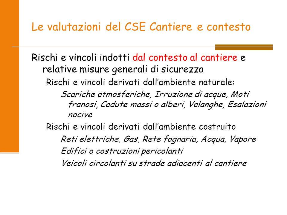 Le valutazioni del CSE Cantiere e contesto