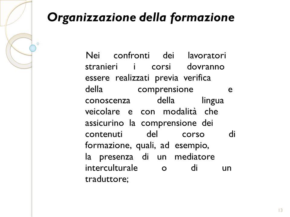 Organizzazione della formazione