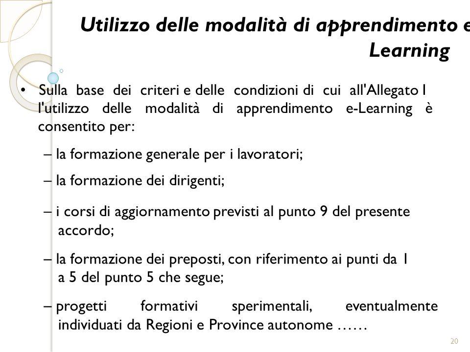 Utilizzo delle modalità di apprendimento e- Learning