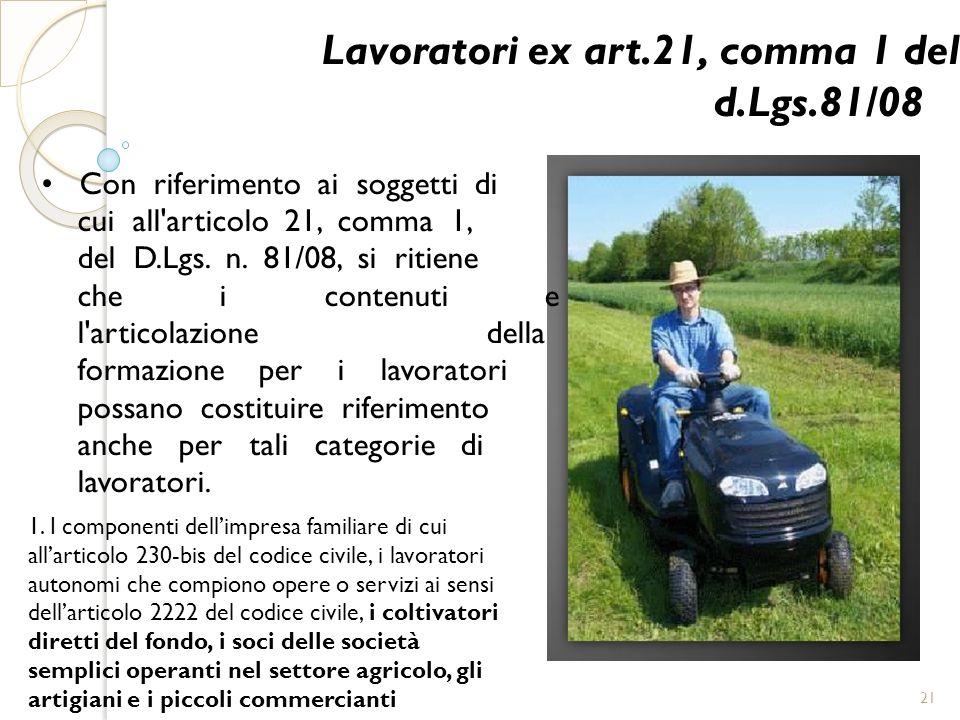 Lavoratori ex art.21, comma 1 del d.Lgs.81/08