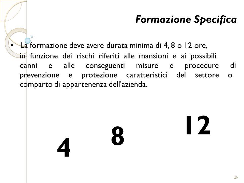 12 8 • La formazione deve avere durata minima di 4, 8 o 12 ore,