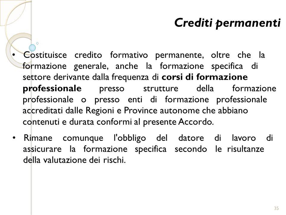 Crediti permanenti • Costituisce credito formativo permanente, oltre che la.