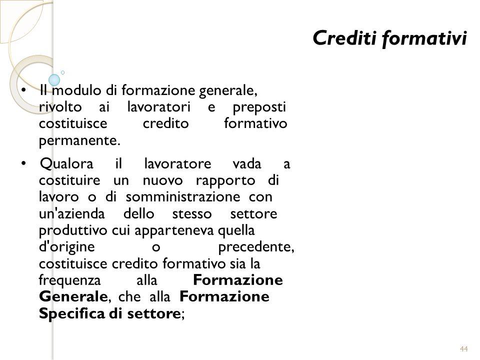 Crediti formativi • Il modulo di formazione generale,
