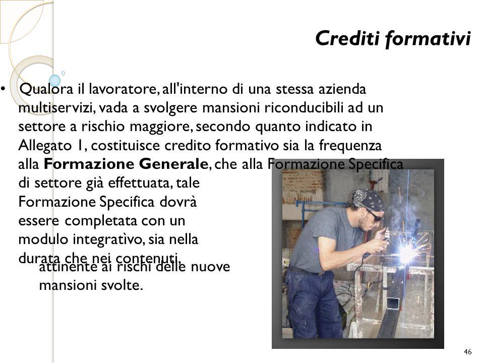 Crediti formativi • Qualora il lavoratore, all interno di una stessa azienda. multiservizi, vada a svolgere mansioni riconducibili ad un.