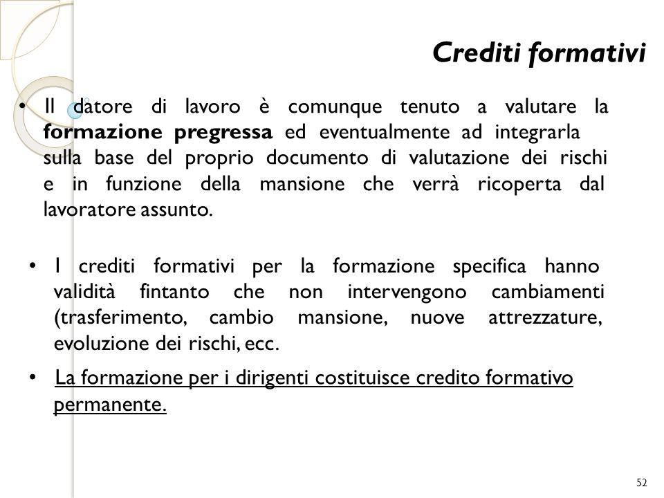 Crediti formativi • Il datore di lavoro è comunque tenuto a valutare la.