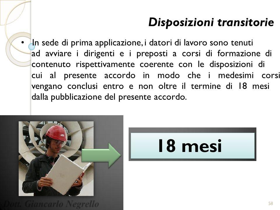 18 mesi Disposizioni transitorie