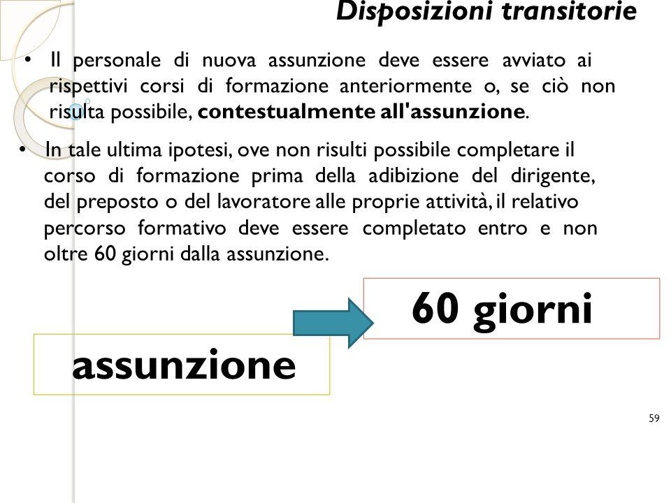 60 giorni assunzione Disposizioni transitorie