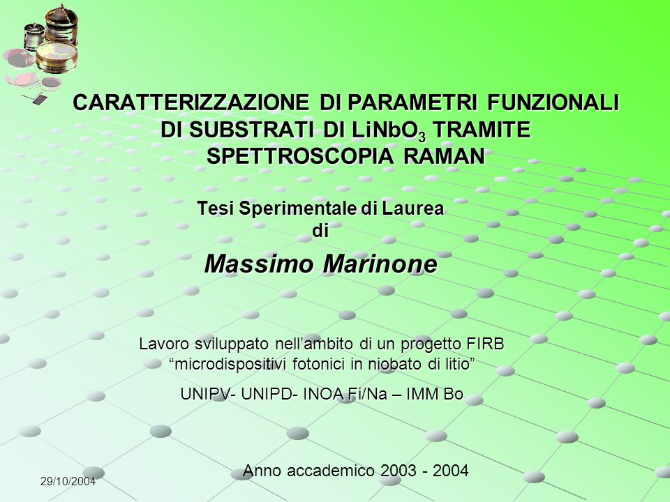 Tesi Sperimentale di Laurea di Massimo Marinone