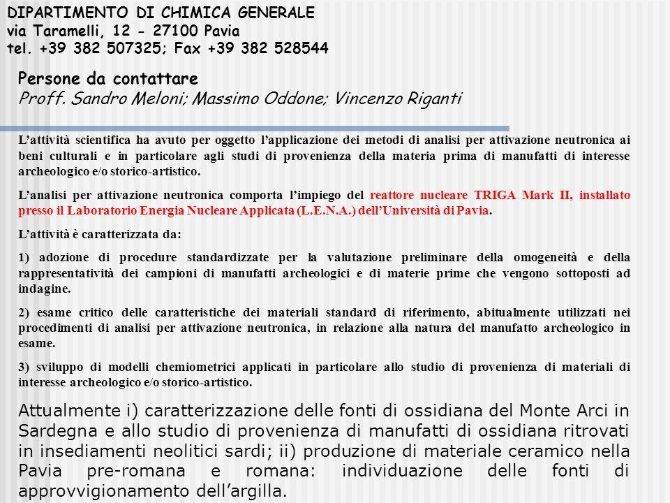 DIPARTIMENTO DI CHIMICA GENERALE via Taramelli, 12 - 27100 Pavia tel