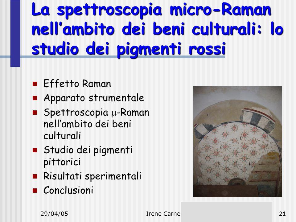 La spettroscopia micro-Raman nell'ambito dei beni culturali: lo studio dei pigmenti rossi