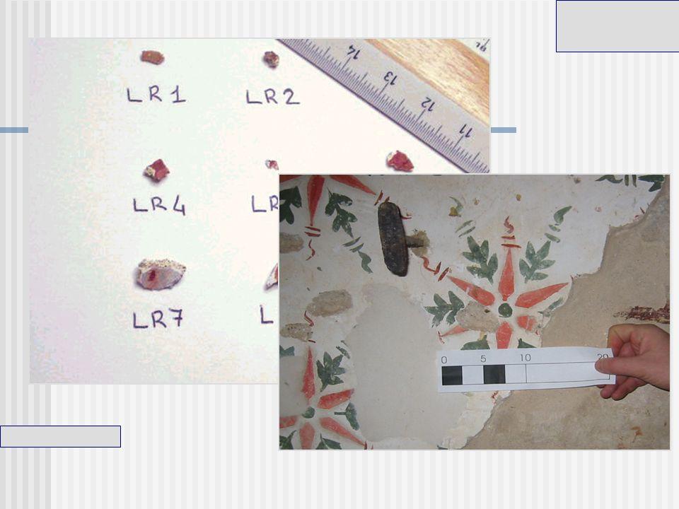 I pigmenti rappresentati in figura, sono stati prelevati dal motivo floreare (click!) nel quale è possibile distinguere a occhio nudo diverse zone di rosso.