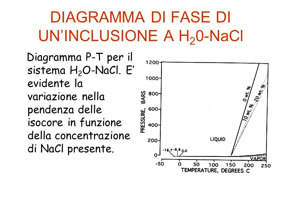 DIAGRAMMA DI FASE DI UN'INCLUSIONE A H20-NaCl