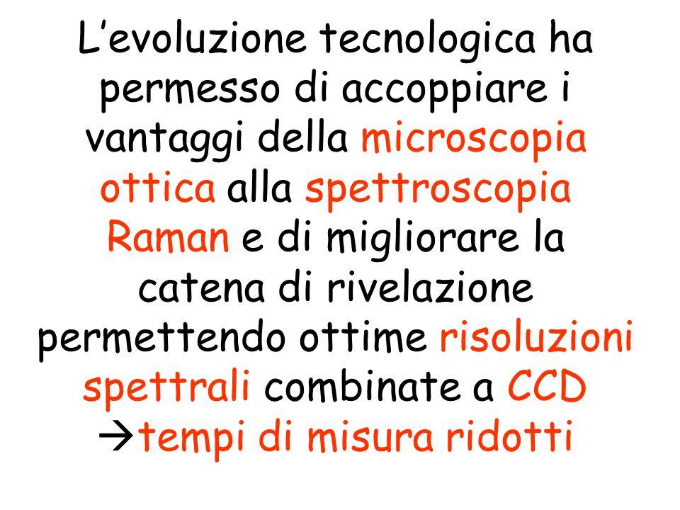 L'evoluzione tecnologica ha permesso di accoppiare i vantaggi della microscopia ottica alla spettroscopia Raman e di migliorare la catena di rivelazione permettendo ottime risoluzioni spettrali combinate a CCD tempi di misura ridotti