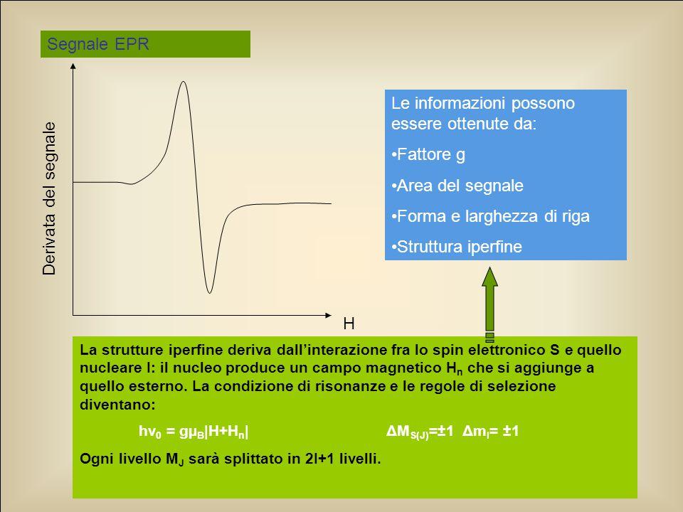 Le informazioni possono essere ottenute da: Fattore g Area del segnale