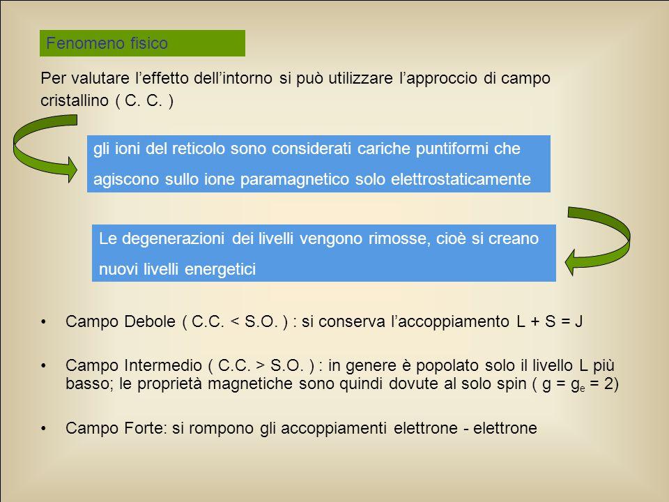 Fenomeno fisico Per valutare l'effetto dell'intorno si può utilizzare l'approccio di campo. cristallino ( C. C. )