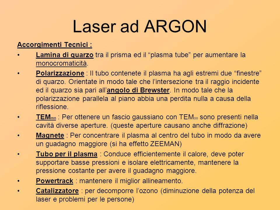 Laser ad ARGON Accorgimenti Tecnici :