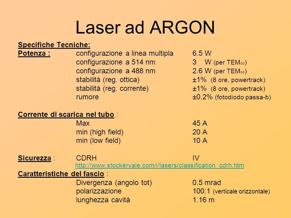 Laser ad ARGON Specifiche Tecniche: