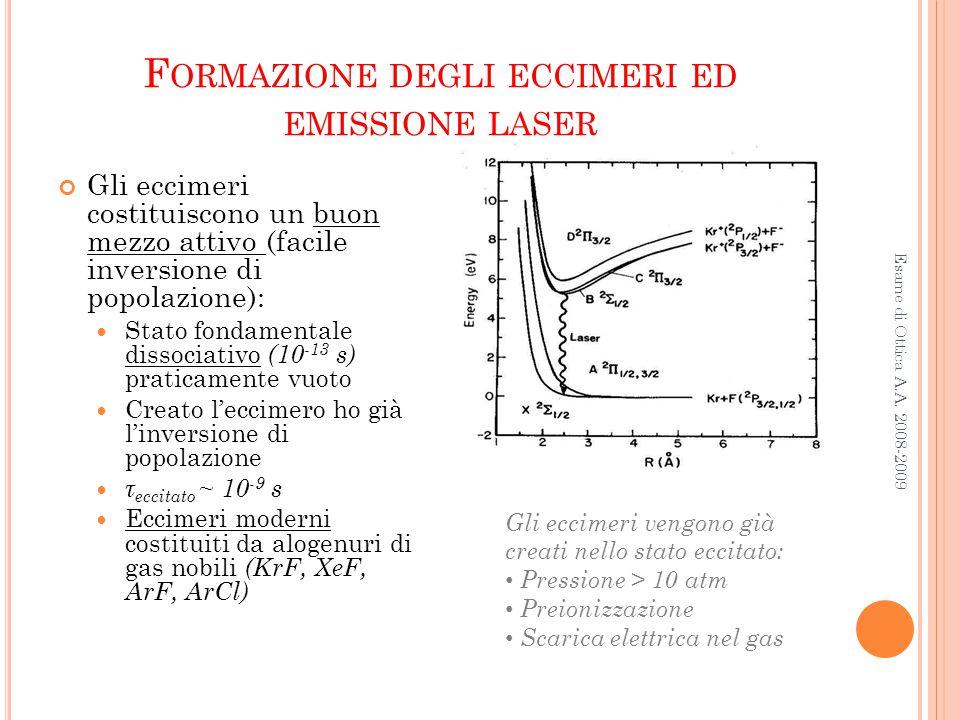 Formazione degli eccimeri ed emissione laser
