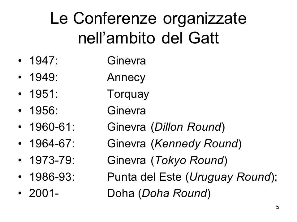 Le Conferenze organizzate nell'ambito del Gatt
