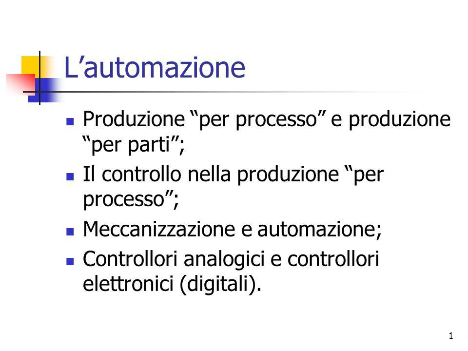 L'automazione Produzione per processo e produzione per parti ;