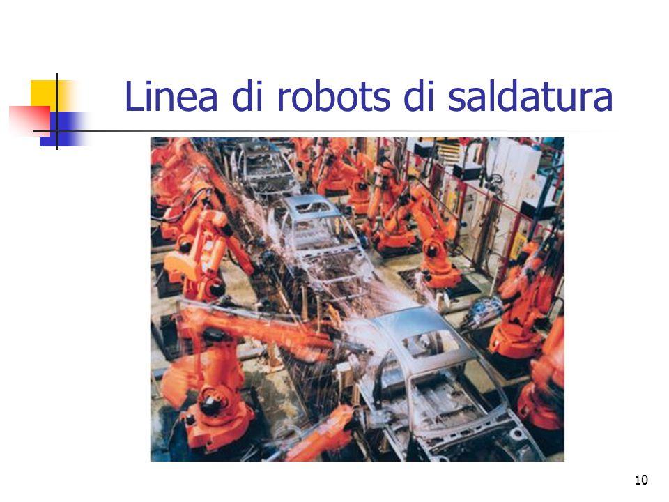 Linea di robots di saldatura