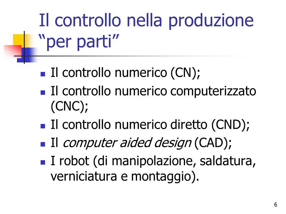 Il controllo nella produzione per parti