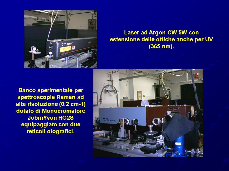 Laser ad Argon CW 5W con estensione delle ottiche anche per UV (365 nm).