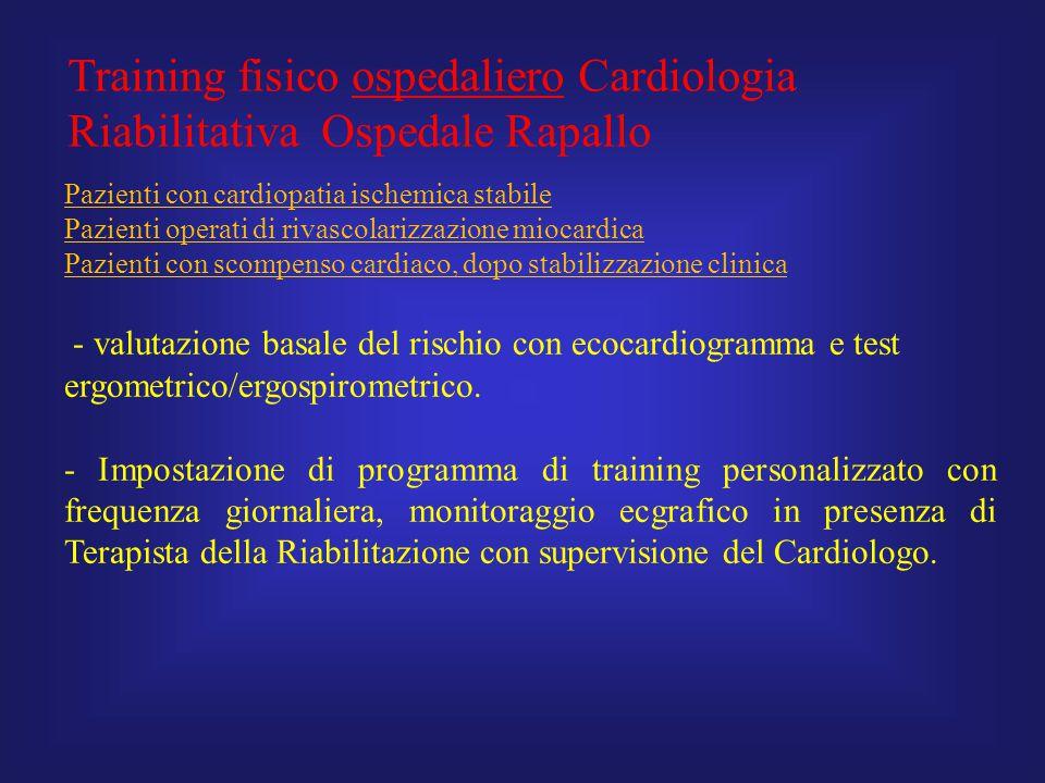Training fisico ospedaliero Cardiologia Riabilitativa Ospedale Rapallo